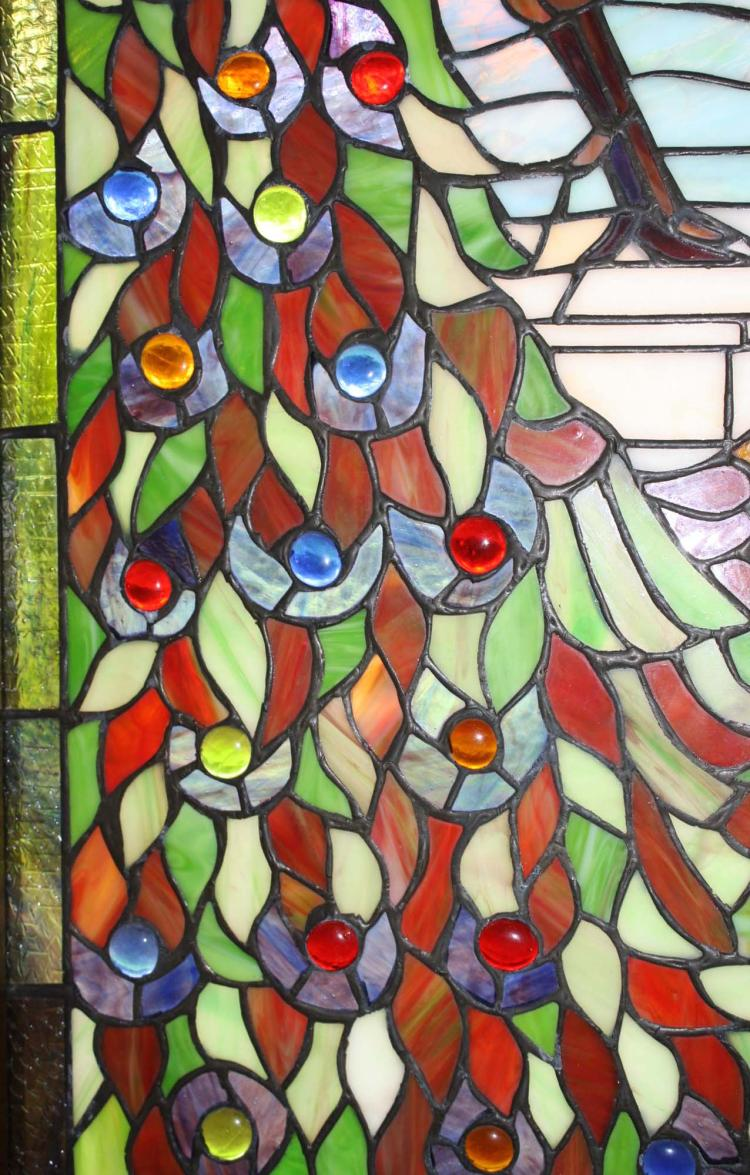 Pr of contemporary stained glass arched windows for Contemporary stained glass