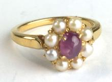 Fine yellow gold, ruby, and pearl ring