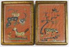 pr of 19th c Chinese embroidered pictures