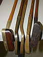 5 Early wooden shafted putters - Spaulding cast