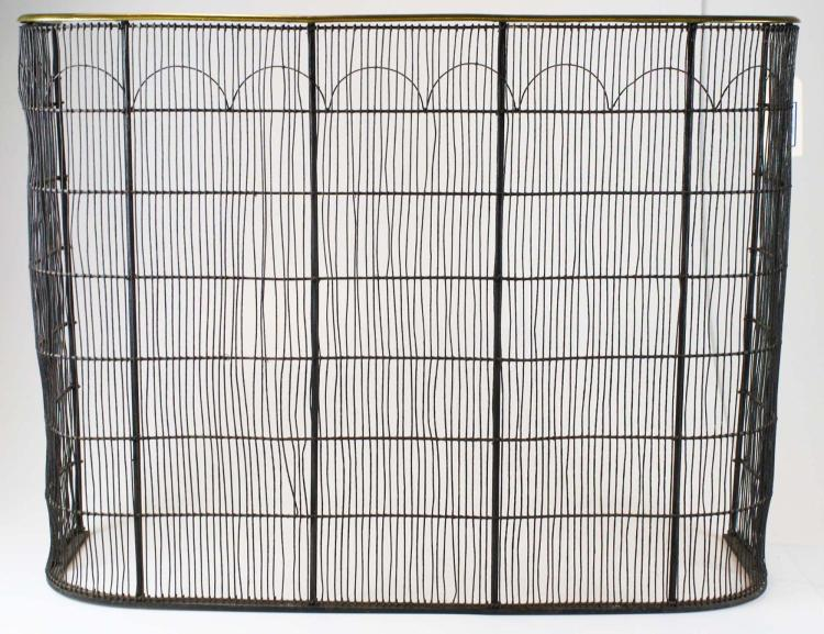 Brass Wire Grille : Early th c brass wire grill fire screen