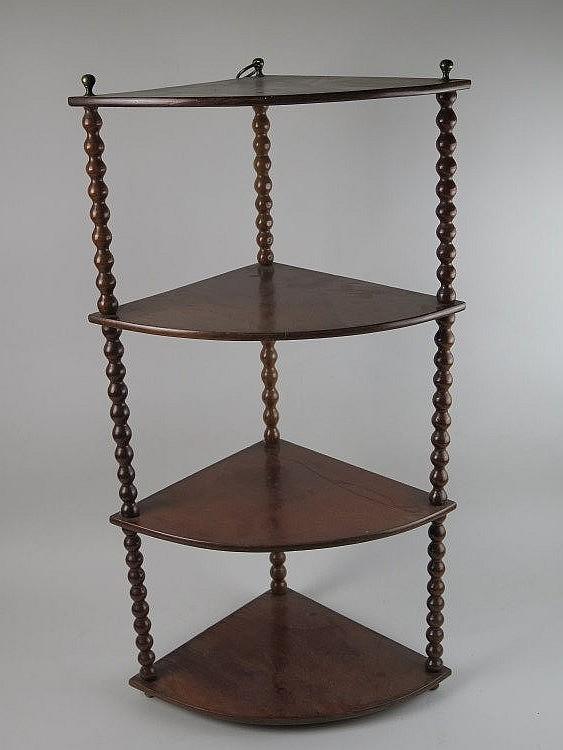 Etag re d angle en acajou quatre plateaux montant en grain - Etagere baignoire angle ...