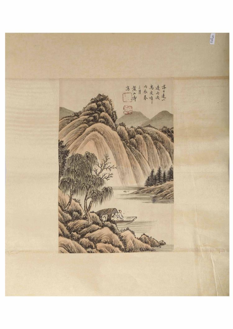 SIGNED HUANG SHASHOU (1855-1919). A INK AND COLOR ON PAPER HANGING PAINTING. H286.