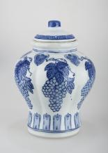 A BLUE AND WHITE PORCELAIN JAR AND COVER.C243.