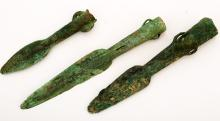 A SET OF THREE BRONZE WEAPONS: LANCES