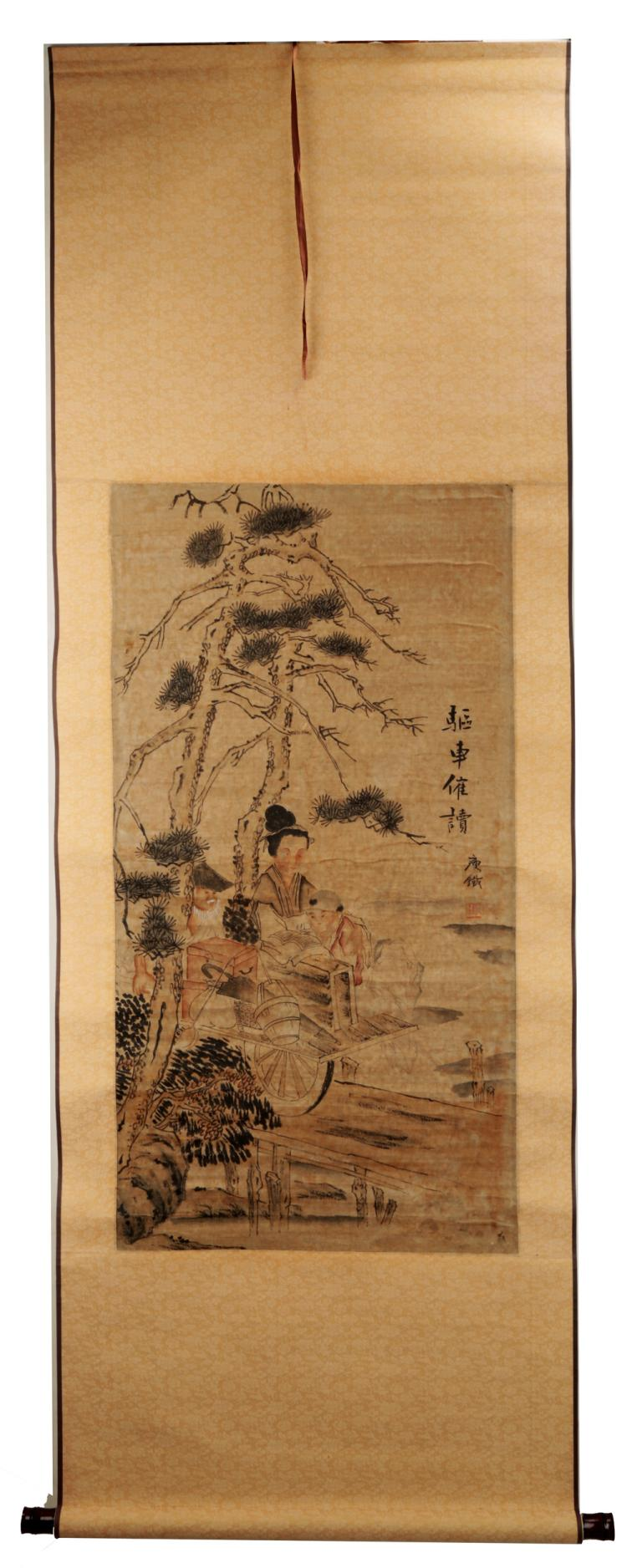 SIGNED QIAN SHOUTIE (1867-1967). A INK AND COLOR ON PAPER HANGING SCROLL PAINTING. H098.