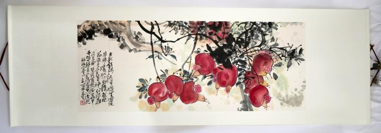 SIGNED GAO GUANHUA (1915-1999). A INK AND COLOR ON PAPER HANGING SCROLL PAINTING.H510.