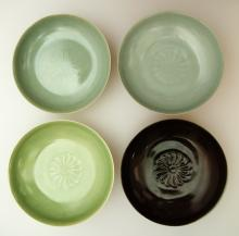 (4)  A set of four Chinese Ru Ware Dish  By Ru Kiln of Northern Song Dynasty