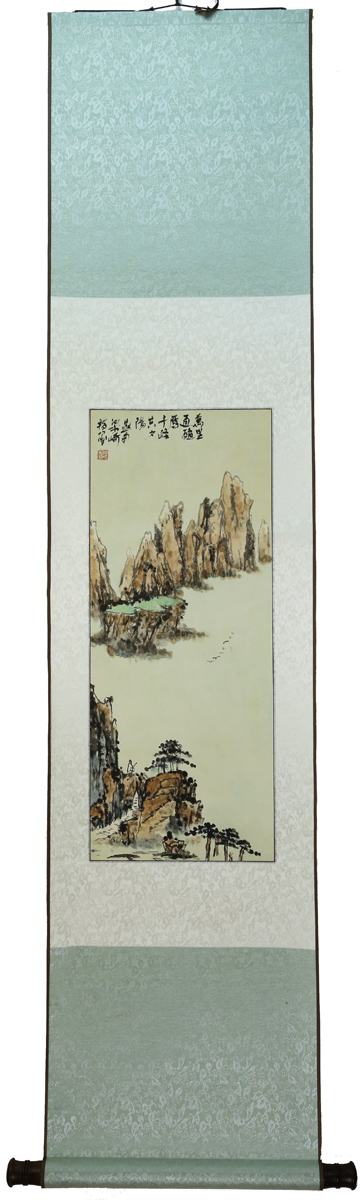 INSCRIBED AND SIGNED LIANG QI (1909-1996), INK AND COLOR ON PAPER HANGING SCROLL FINGER PAINTING.