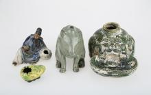 GROUP OF FOUR CHINESE CERAMIC ORNAMENTS, MOULDED CERAMIC FORMS, AND A LOTUS DROPPER. C227.