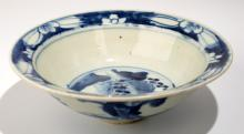 A BLUE AND WHITE BOWL WITH THREE STARS OF SHOU,LU,AND FU DESIGN.C060