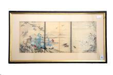 A JAPANESE LANDSCAPE WOODBLOCK TRIPTYCH, WILDLIFE & FLORA.H234.