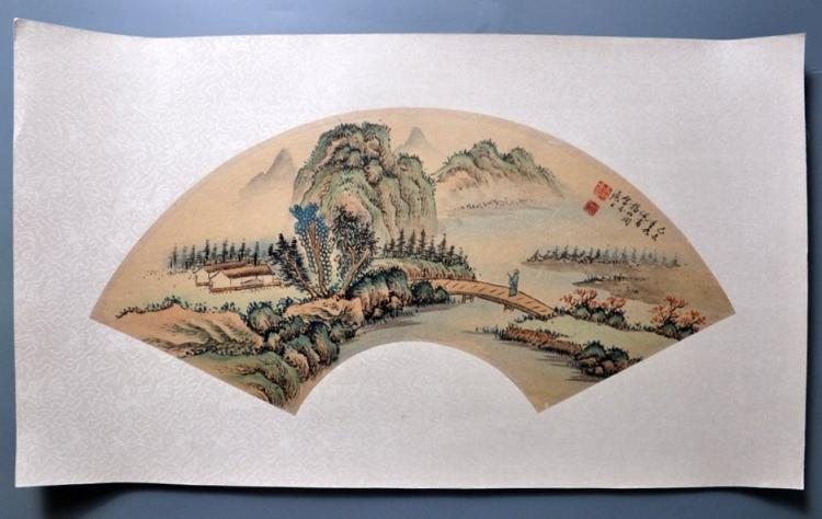 INSCRIBED AND SIGNED YANG BORUN(1837-1911). CHINESE PAINTED ON PAPER FAN.H074.