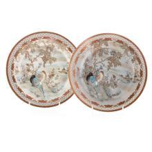 (2)  A PAIR OF JAPANESE KUTANI PORCELAIN PLATES.C224.