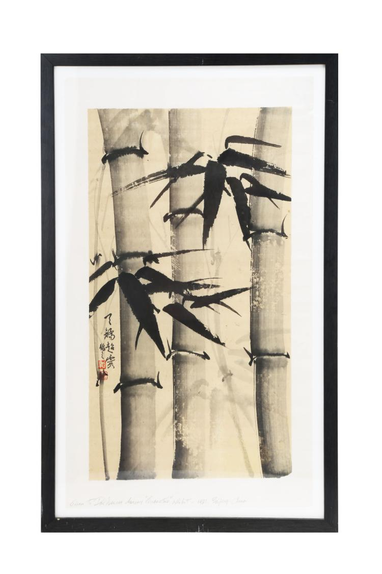 ATTRIBUTED AND SIGNED DUAN GUANZHI (1933-  ). A INK AND COLOR ON PAPER HANGING FRAMED PAINTING TWO. H178.