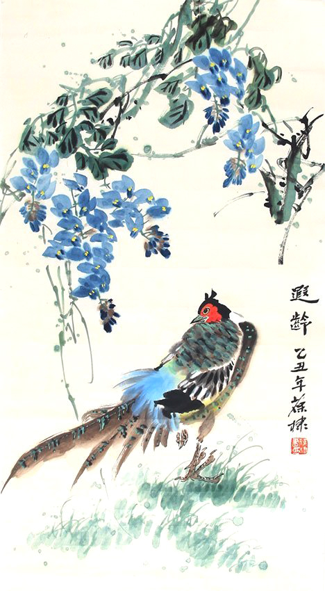 SIGNED CHEN BAODI(1947-).A INK AND COLOR ON PAPER HANGING PAINTING. H228.