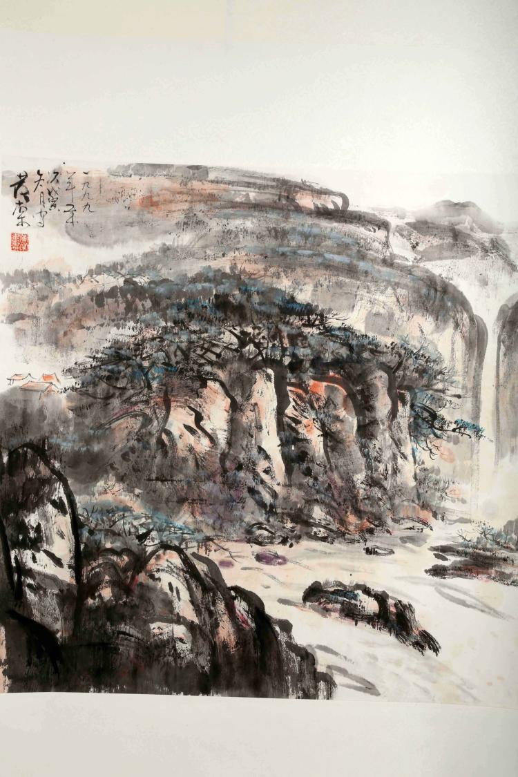SIGNED HUANG TANG (1937- ). A INK AND COLOR ON PAPER HANGING SCROLL PAINTING. H272.