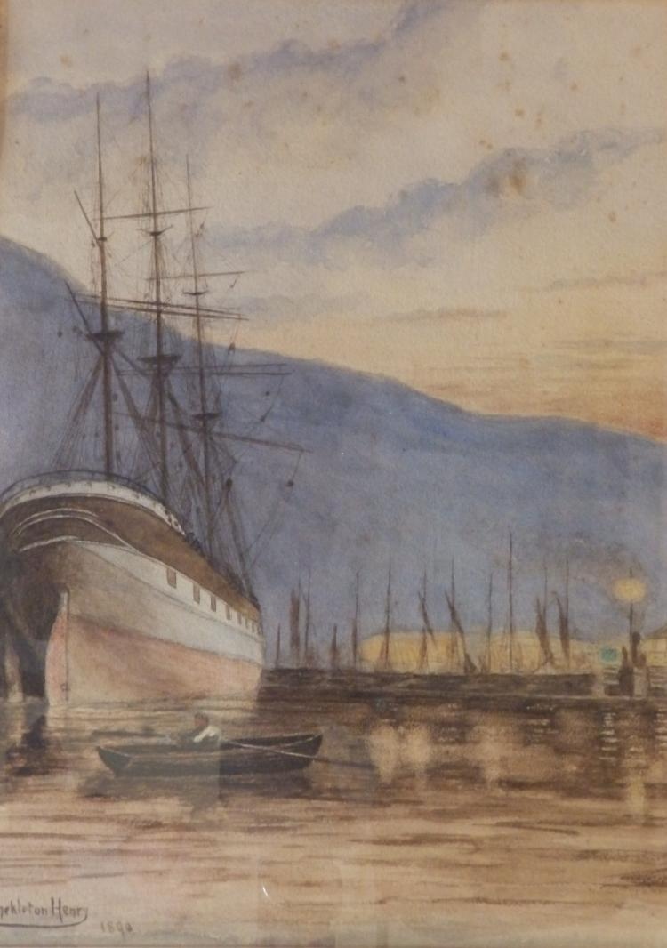 """Thomas Shekleton Henry (1865-1934) – watercolour – Sailing vessel in harbour, signed & dated 1890, 18.5"""" x 14"""" - some foxing."""