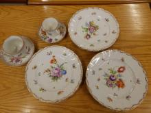 10 pieces of Dresden floral painted table porcelain.