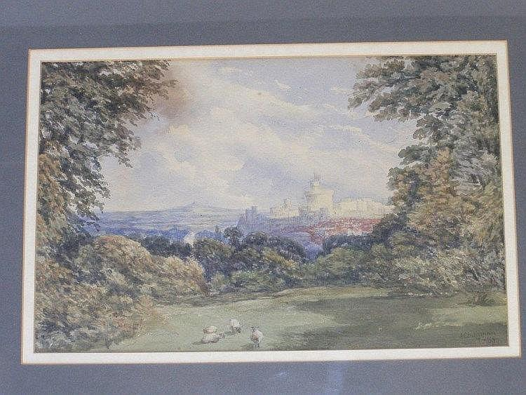J. Chapman - watercolour - Rural landscape with