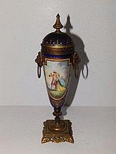 A 19thC Vienna style ormolu mounted porcelain urn – painted mark 'GB' to th