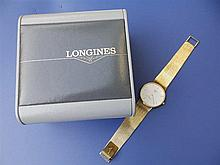 A boxed gent's 9ct gold Longines quartz 'Presence' wrist watch with white d