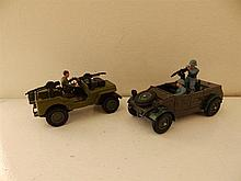 A Dinky US Jeep and a Britains Kubelwagen. (2)
