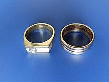 A modern gent's diamond set two-colour 750 metal ring and one other. (2)