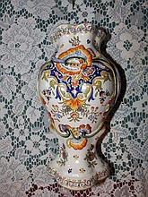 "A 19thC delft polychrome vase – JJ1009, 9.5"""