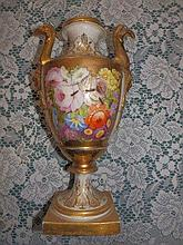 A 19thC Derby style floral painted & gilded vase –