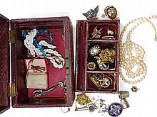 A jewellery box & contents.