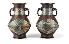Paar Cloisonné-Vasen.
