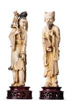 Zwei Elfenbein-Figurinen: