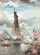 Porzellanbild mit Einweihung der Freiheitsstatue