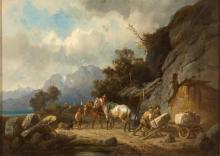Alois Bach. 1809 Eschlkam (Oberpfalz) - 1893 München. Ab 1827 an der Münchner Akademie bei Heinrich Maria von Hess später durch Heinrich Bürkel und Max Wagenbauer beeinflusst. In seiner Landschaftsmalerei ist er dem engeren Kreis um Schleich d.Ä. zuzurechnen.