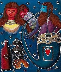 [ Paintings ] Gemalde des 19. und 20. Jh. Lesley Hyppolite. Nach 1970 in Haiti tatig genannt. Sign. Woodoo-Priester beim Ritual. Ol/Lwd. 60,5 x 50,5 cm
