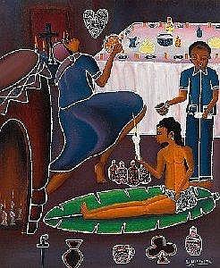 [ Paintings ] Gemalde des 19. und 20. Jh. Lesley Hyppolite. Nach 1970 in Haiti tatig genannt. Sign. Woodoo-Zeremonie. Ol/Lwd. 60,5 x 49,5 cm