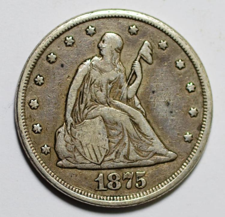 1875-CC 20 Cent Piece