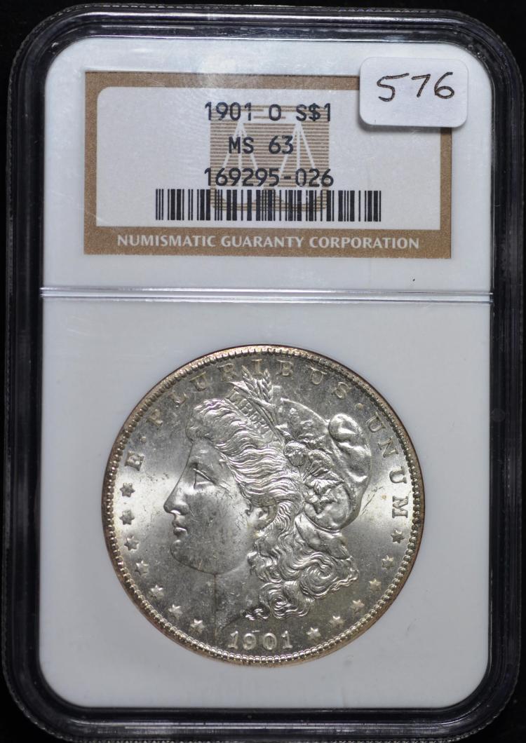 1881-S, 1884-O, 1901-O Morgans MS-63 NGC