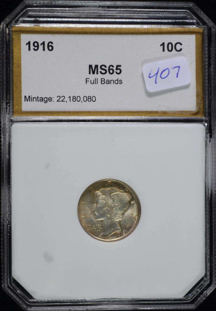 1916 Mercury Dime MS-65 Full Bands PCI