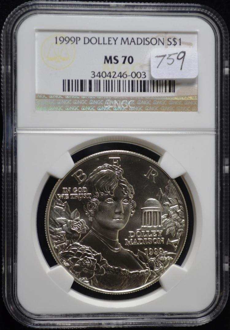 1999 Dolly Madison Silver Dollar MS-70 NGC