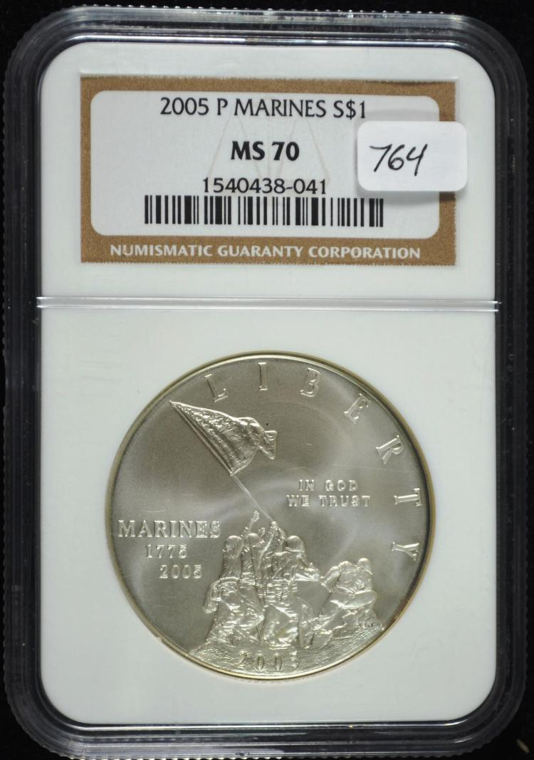 2005 Marines Commem Silver Dollar MS-70 NGC