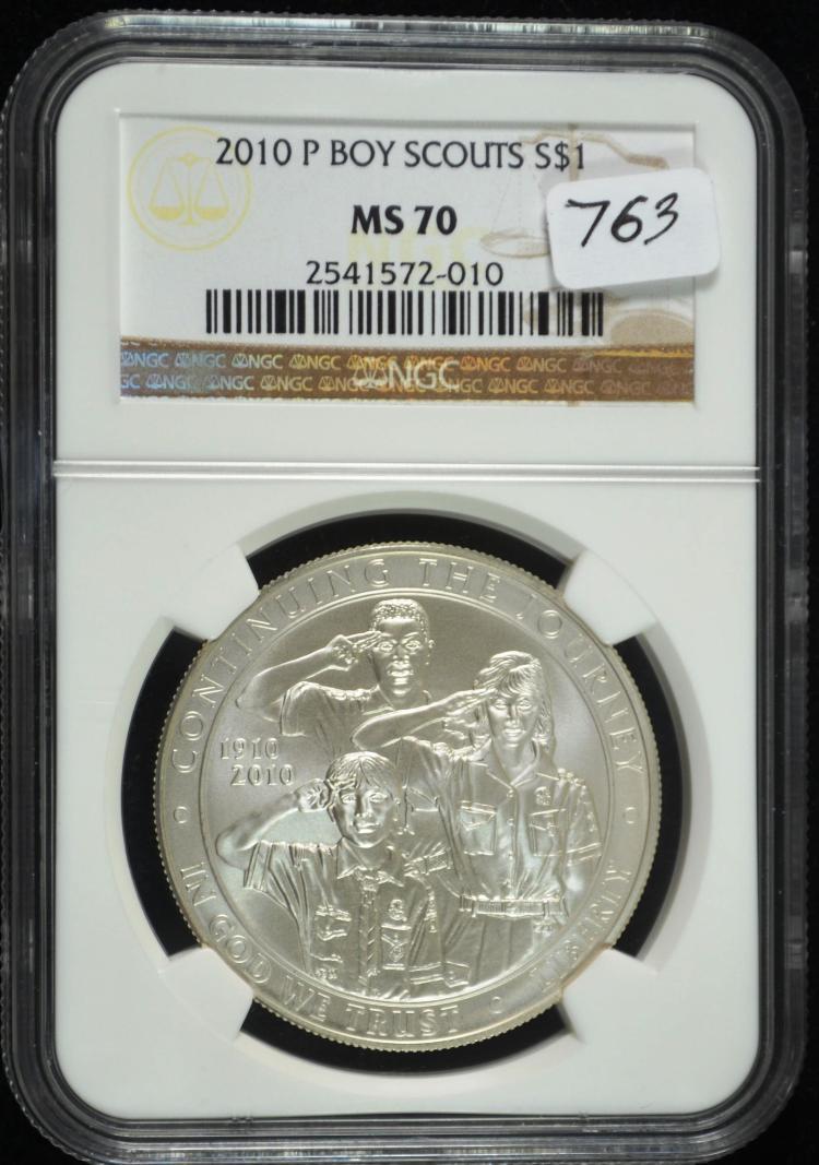 2010 Boy Scouts Commem Silver Dollar MS-70 NGC
