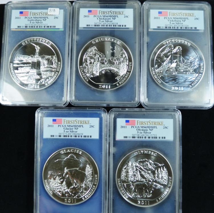 2011 5oz silver ATB 5 coin set MS69 DMPL PCGS