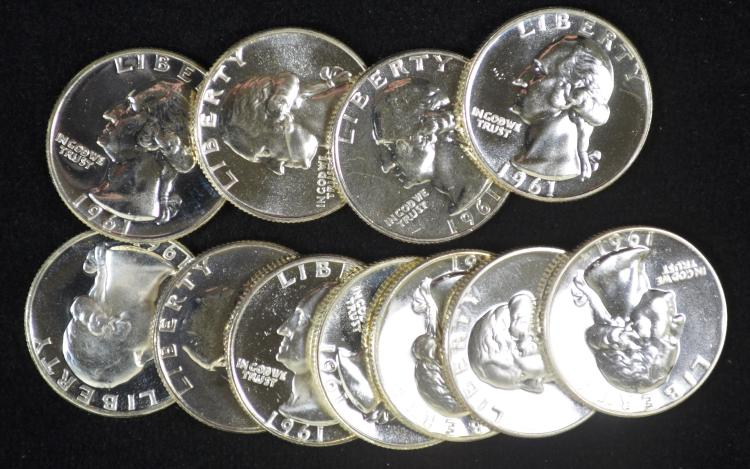 Roll of 40 1961 Proof 90% Silver Quarters