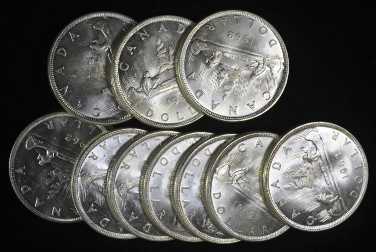 11 1962 Canadian Silver Dollars