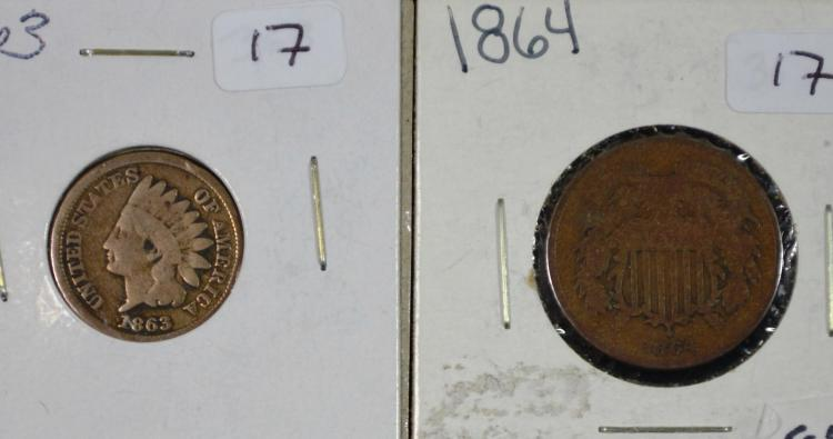 1863 Indian Head Cent 1864 2 Cent Piece