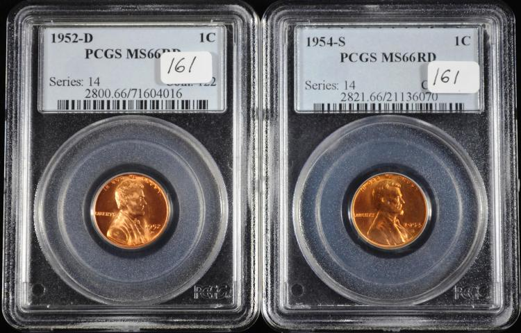 1952-D & 1954-D Lincoln Cents MS-66 RD PCGS