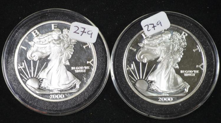 2 2000 Dated Silver Walking Liberty Design