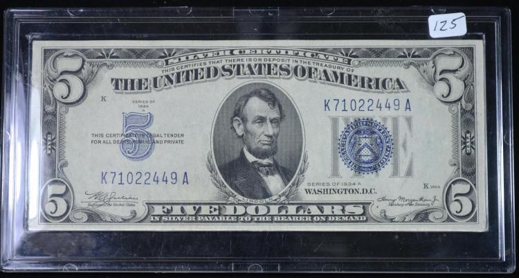 1934a $5.00 Silver Certificate